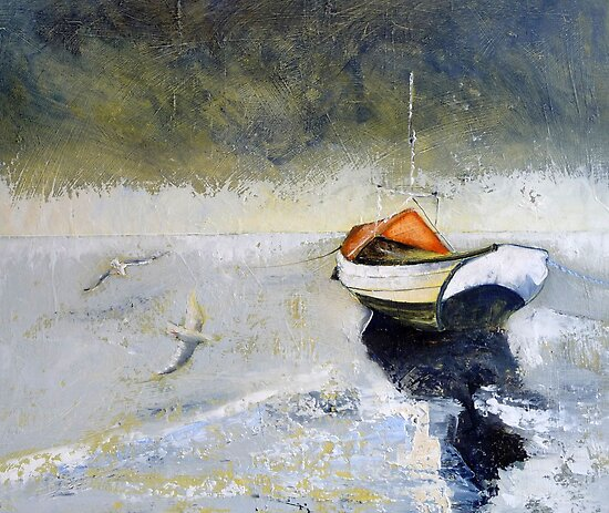 Coble and Gulls, Northumberland by Sue Nichol