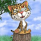 Children&#x27;s Birthday Card With Cute Jaguar And Butterfly  by Moonlake