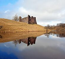 Morton Castle reflection by Photo Scotland