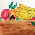 Table of Fruit, watercolor by Anna  Lewis