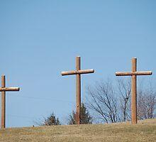 three wooden crosses by scott staley