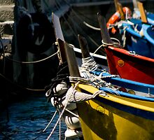 Tied up Fishing Boats In Vernazza by amyjgrigg
