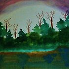 Pine Trees at Dusk by Lake, revised Watercolor by Anna  Lewis
