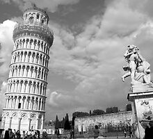 Tower & Statue - Pisa, Italy by Britland Tracy