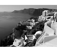 Santorini Cliffs ~ Black & White Photographic Print