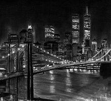 Brooklyn Bridge New York Pencil Drawing by daverives