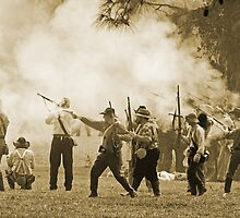 Black powder clouds in sepia by Larry  Grayam
