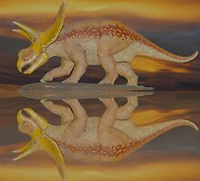 triceratops sunset by Rodney55