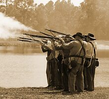 Volley Fire in sepia by Larry  Grayam