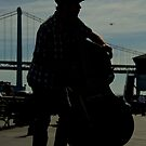 Silhouette of a double bass player by Svetlana Day
