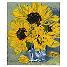 Sunflowers in Blue & White Vase by Janice Petitjean