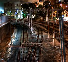 Railway lines at night by BigAndRed