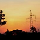 Silhouetted Transmission Tower by Indrani Ghose
