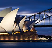 Sydney Opera House and Harbour Bridge by steve back