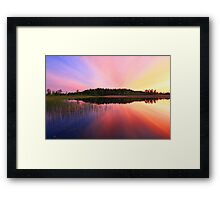 Sunset over lake Framed Print