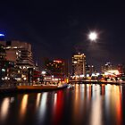 Melbourne - city lights under the moonlight (blue tint) by paxamour