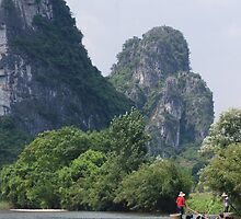 Fishing Cormorants with Hills - Guilin, China  by BattleNun