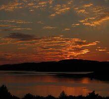 Lake Superior sunset over Blondin Island - Marathon Ontario Canada by loralea