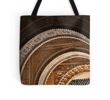 Moorish arches in the Alhambra Place in Granada Spain  Tote Bag