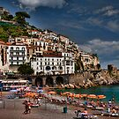 Beach scene in the medieval town of Amalfi, Italy by InterfaceImages
