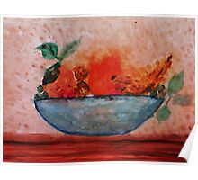 Antique look Bowl of Fruit, watercolor Poster