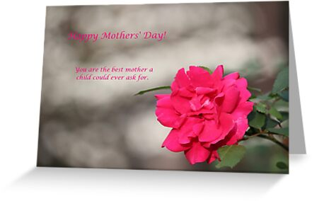 Happy Mothers' Day - Red Rose by DebbieCHayes