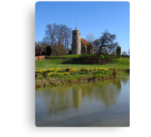 Church By The Lake, Aldham Canvas Print