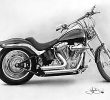 Harley Davidson Soft tail drawing by John Harding