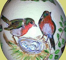 European Robin on Austrich-egg by Heidi Mooney-Hill