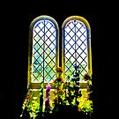 Flowers inside St Boniface by Lyndy