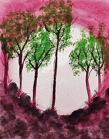 Sunrise Thru the Trees,watercolor  by Anna  Lewis