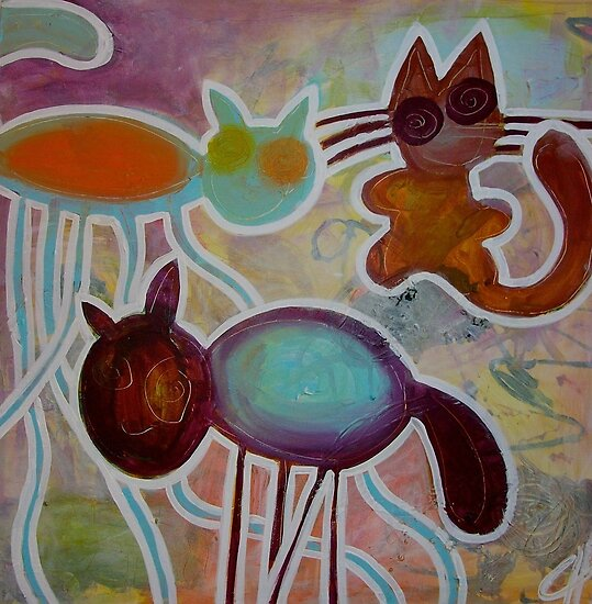 crazy cats by Chantal Guyot