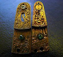 Emerald Earrings - Steampunk, Victorian by Kristi B
