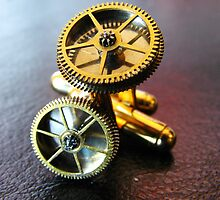Simple Gear Cufflinks - Steampunk, Victorian by Kristi B