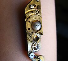 Pearl and Brass Pendant - Steampunk, Victorian by Kristi B