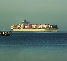 Fully Laden Container Ship by Keith Richardson