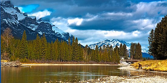 Bow River at Canmore Alberta by Yukondick