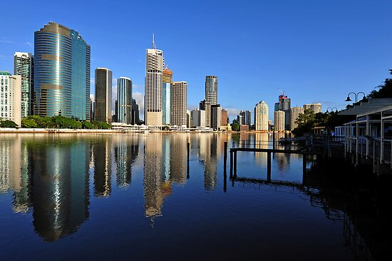 Brisbane River and City at dawn. Queensland, Australia.(9) by Ralph de Zilva
