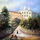 Palácio da Vila de Sintra, visto da Zona do Rio do Porto com as Lavadeiras de Sintra - Château de Sintra - Palace of Sintra PORTUGAL # Óleo sobre tela / Oil on canvas     by PedroAtanasio