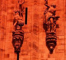 Duomo Statues through the Red Filter, Milan, Italy 2011 by Igor Pozdnyakov