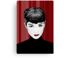 Audrey Hepburn on red background Canvas Print