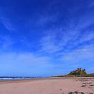 Bamburgh Castle on a sky blue day. by Nik Jowsey