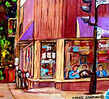 BEAUTY'S RESTAURANT WITH BLUE CAR by Carole  Spandau