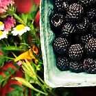 Ripe black raspberries and summer flowers by xtalline