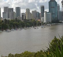 Yachts in front of Brisbane's Botanic Gardens by Ian McKenzie