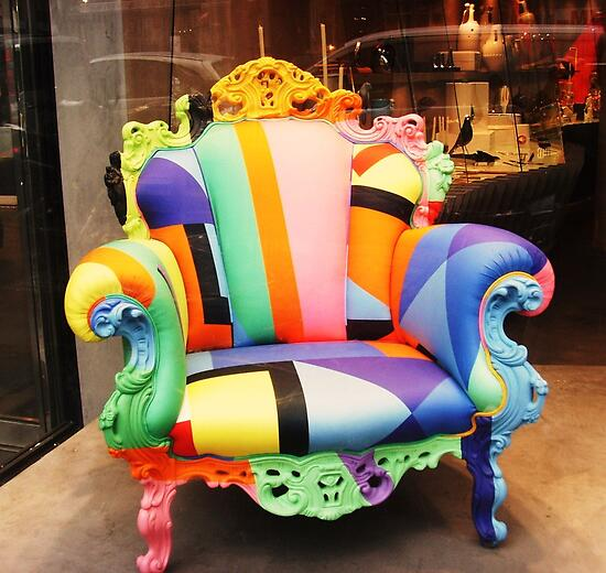 Rainbow armchair - true colours. by Carol Dumousseau