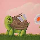 Cute Turtle with butterfly and flower by Jennifer Gibson