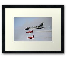Vulcan XH558 with the Red Arrows Framed Print