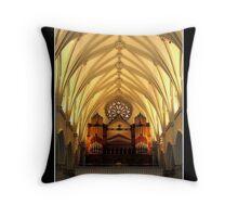 St. Joseph's Cathedral Choir Loft - Organ Pipes Throw Pillow