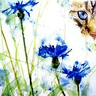 Tabby in the Cornflowers by LoveringArts
